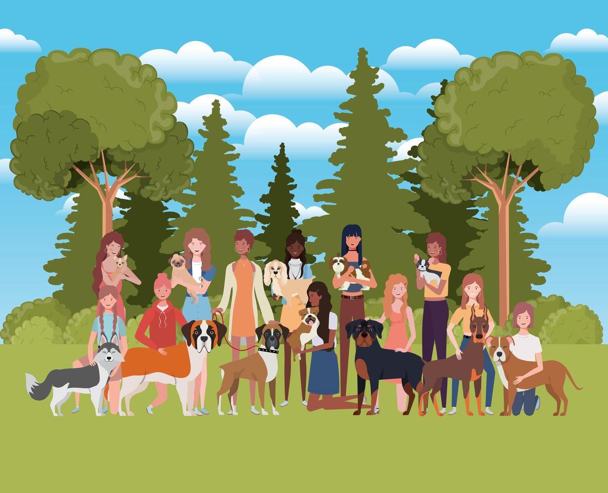 grupo de mulheres com cachorros fofos no campo vetor