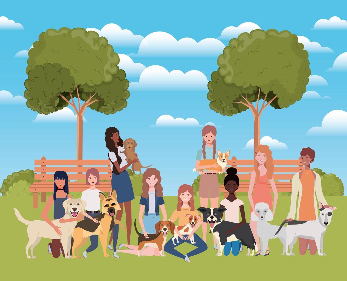 grupo de mulheres com cachorros fofos no parque vetor