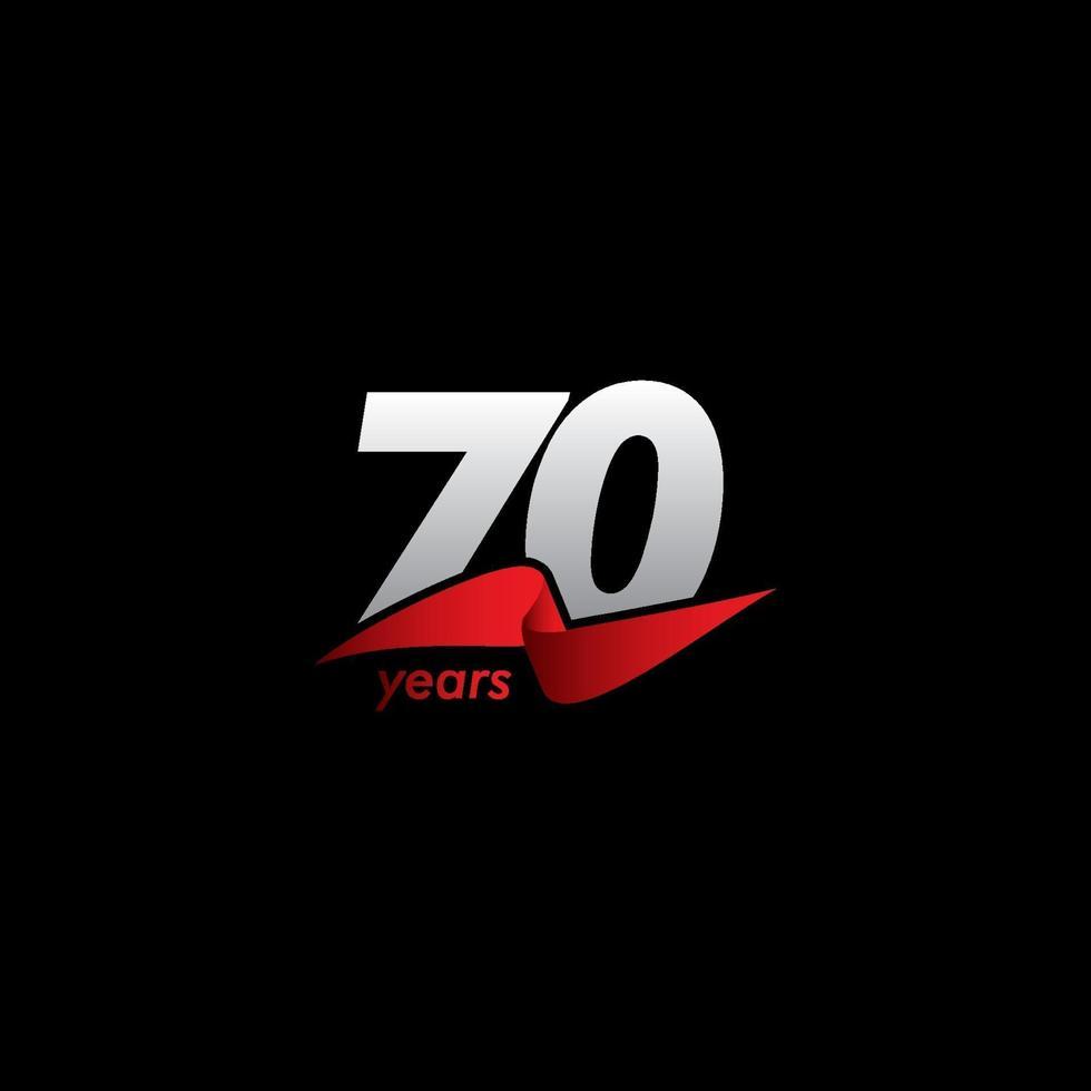 70 anos de celebração de aniversário ilustração de design de modelo de vetor fita vermelha branca