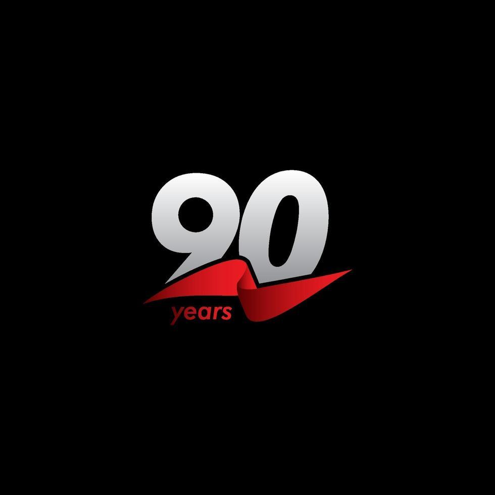 Celebração de aniversário de 90 anos ilustração de design de modelo de vetor fita vermelha branca