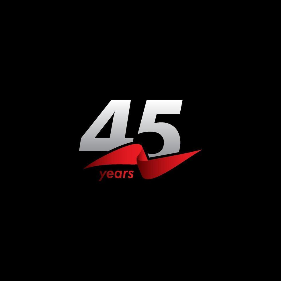 45 anos de comemoração de aniversário de ilustração de design de modelo de vetor fita vermelha branca