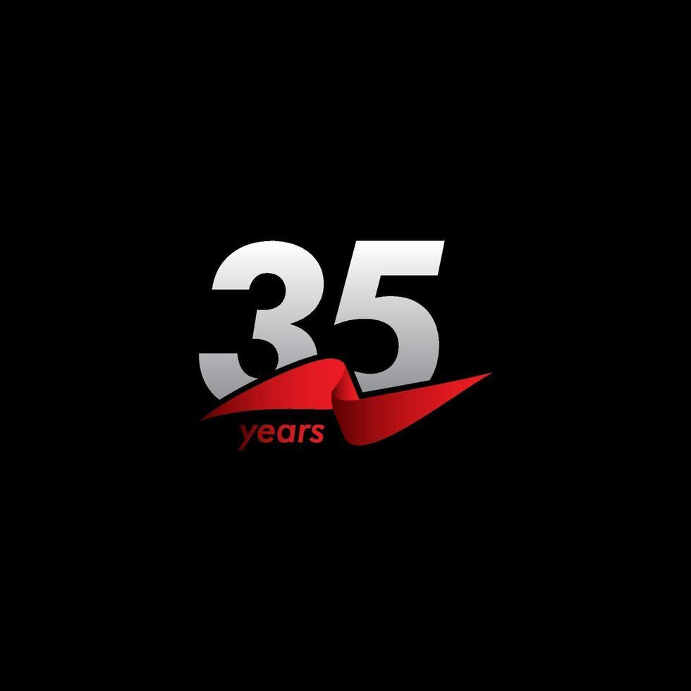 Celebração de aniversário de 35 anos ilustração de design de modelo vetorial fita vermelha preta branca vetor