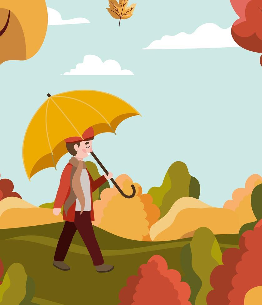 menino no parque com guarda-chuva, cena de outono vetor