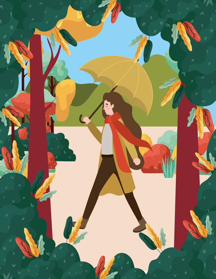 mulher no parque com guarda-chuva, cena de outono vetor