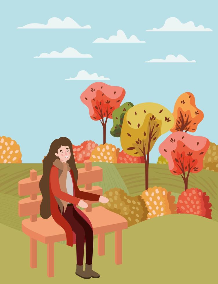mulher no parque, cena de outono vetor