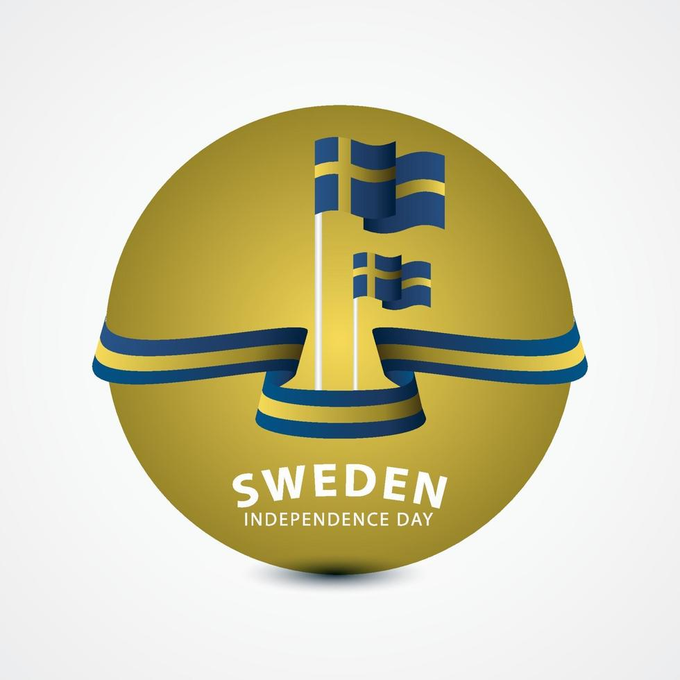ilustração de design de modelo vetorial feliz celebração do dia da independência da Suécia vetor