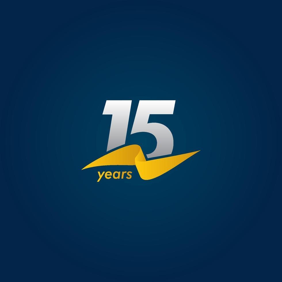 15 anos de celebração de aniversário ilustração de design de modelo vetorial fita branca, azul e amarela vetor