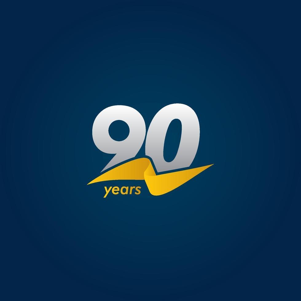 Comemoração do aniversário de 90 anos ilustração de design de modelo vetorial fita branca, azul e amarela vetor