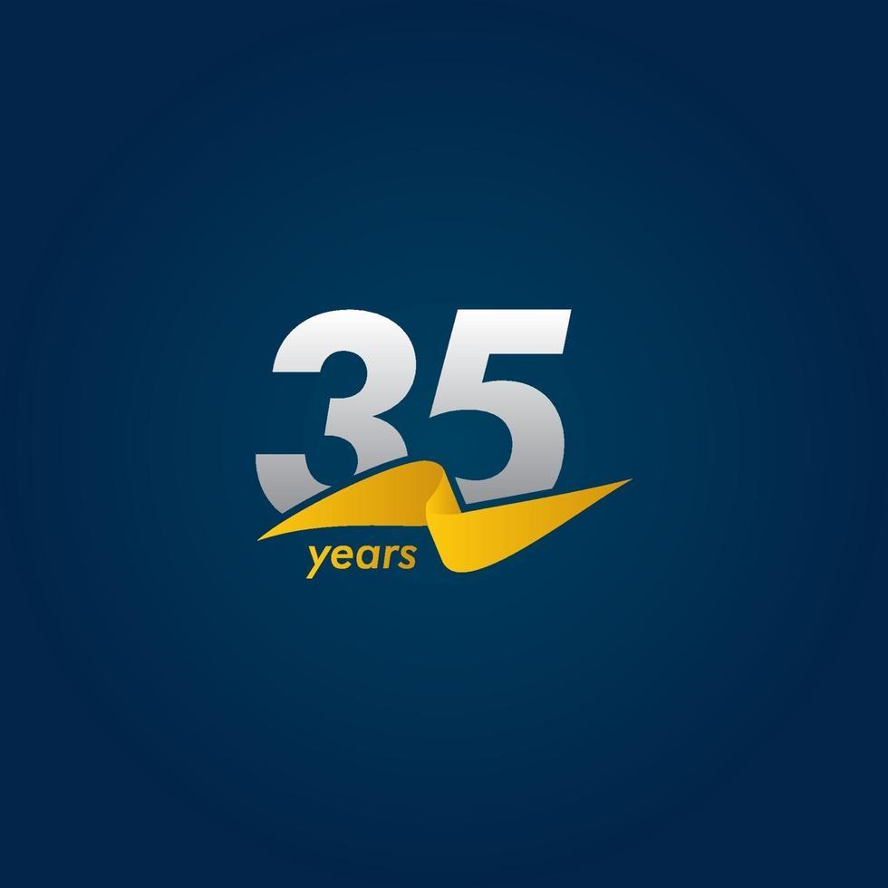 Celebração de aniversário de 35 anos ilustração de design de modelo vetorial fita branca, azul e amarela vetor