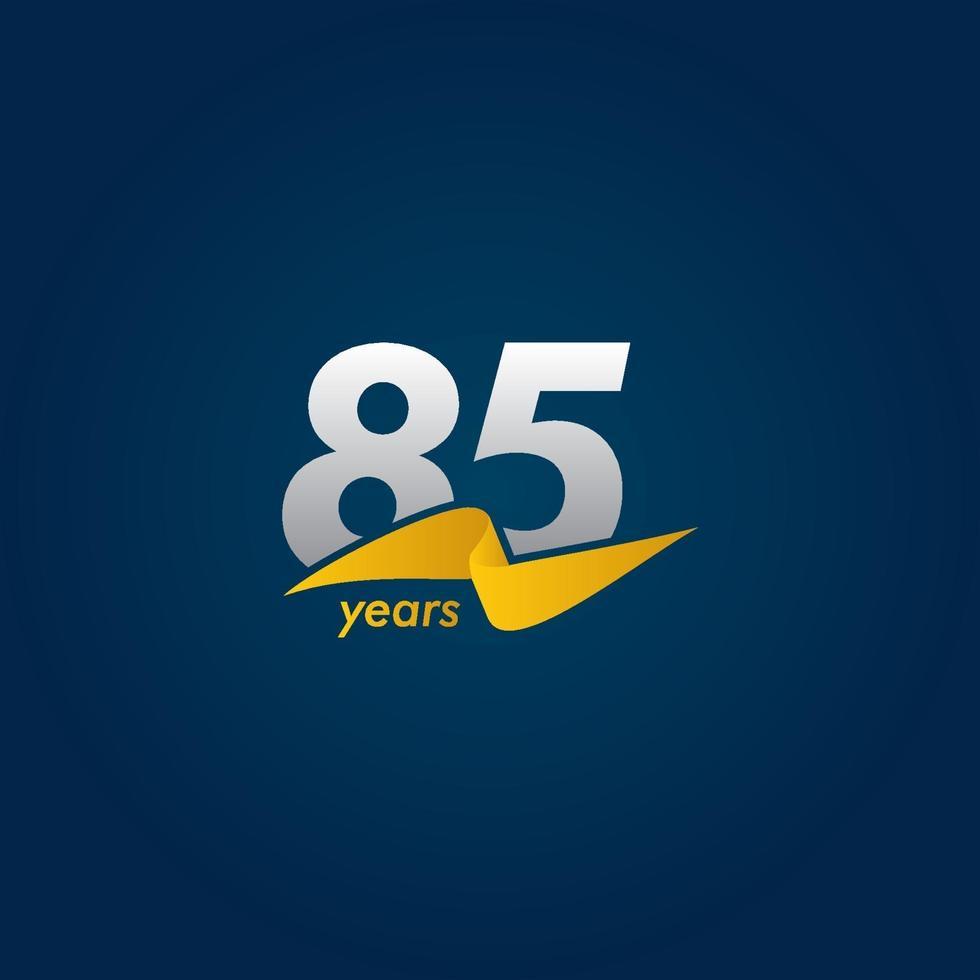 85 anos de comemoração de aniversário de ilustração de design de modelo de fita branca, azul e amarela vetor