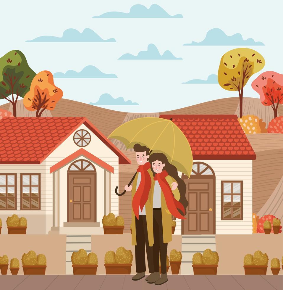casal caminhando ao ar livre, cena de outono vetor