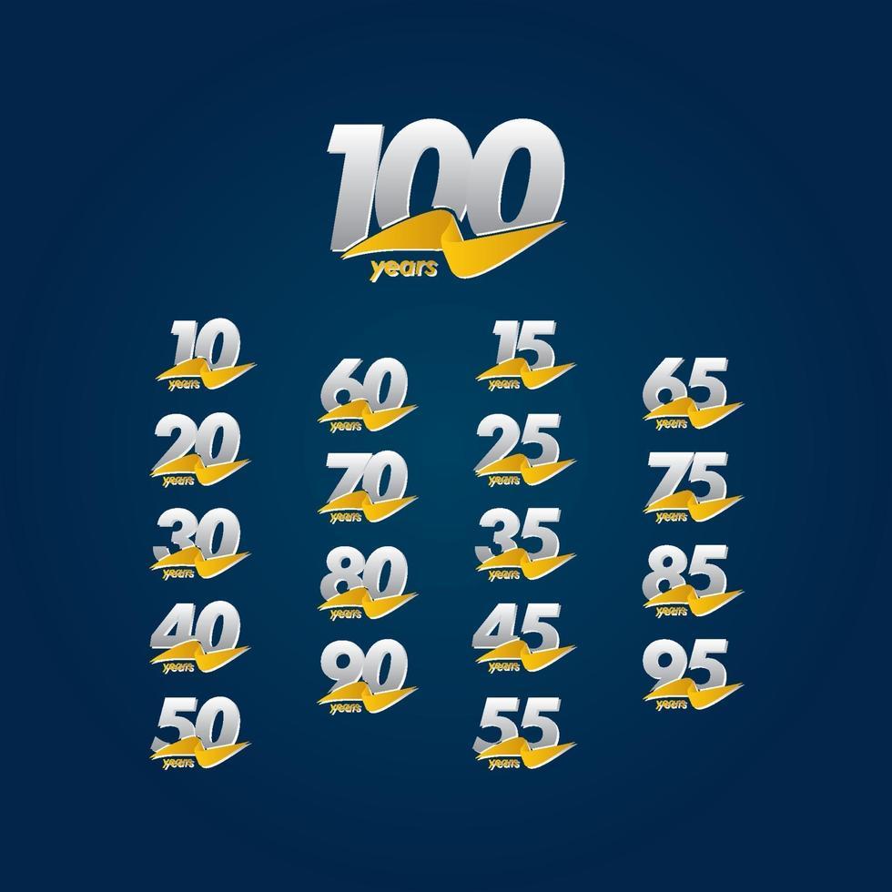 100 anos de comemoração de aniversário ilustração de design de modelo de fita branca, azul e amarela vetor
