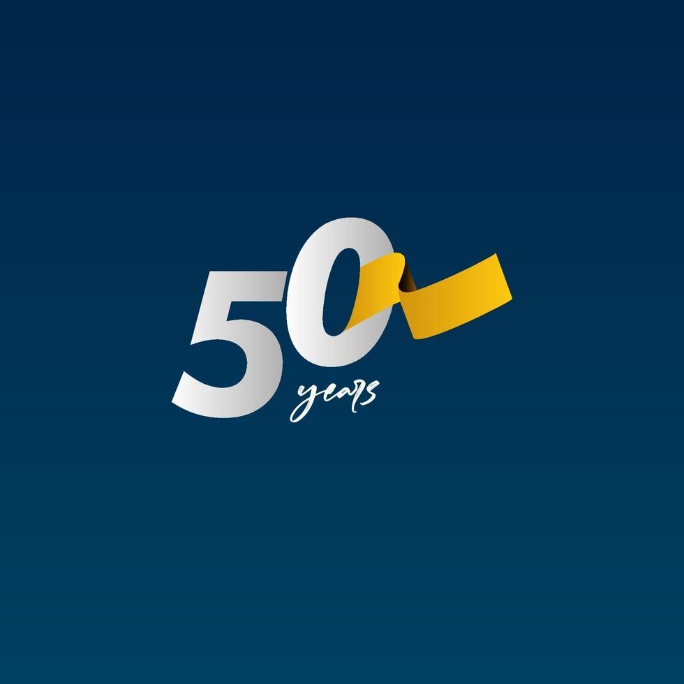 Celebração do aniversário de 50 anos ilustração de design de modelo vetorial fita branca, azul e amarela vetor