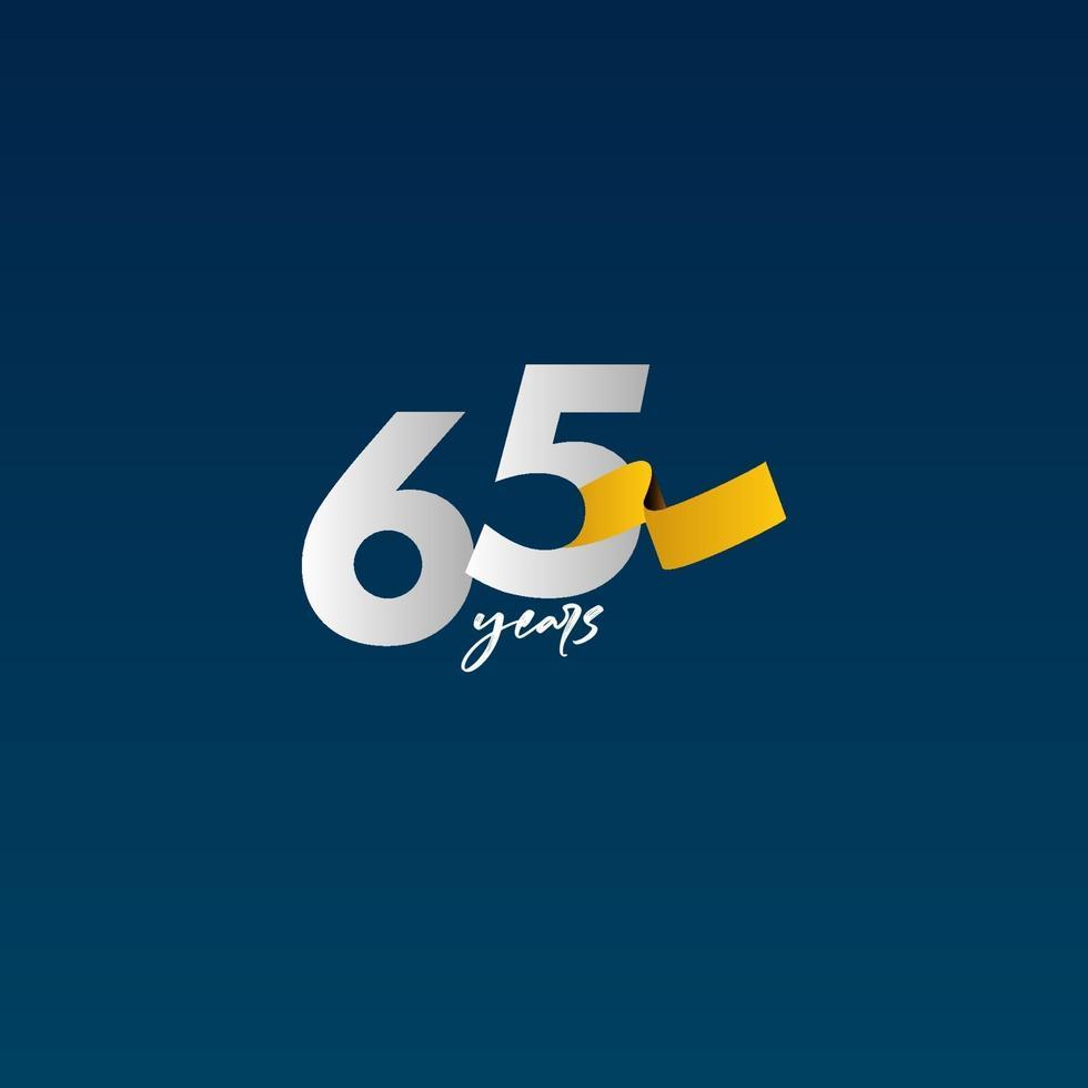 65 anos de celebração do aniversário ilustração de design de modelo vetorial fita branca, azul e amarela vetor
