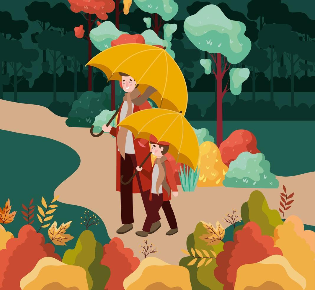 pai com filho caminhando, cena de outono vetor
