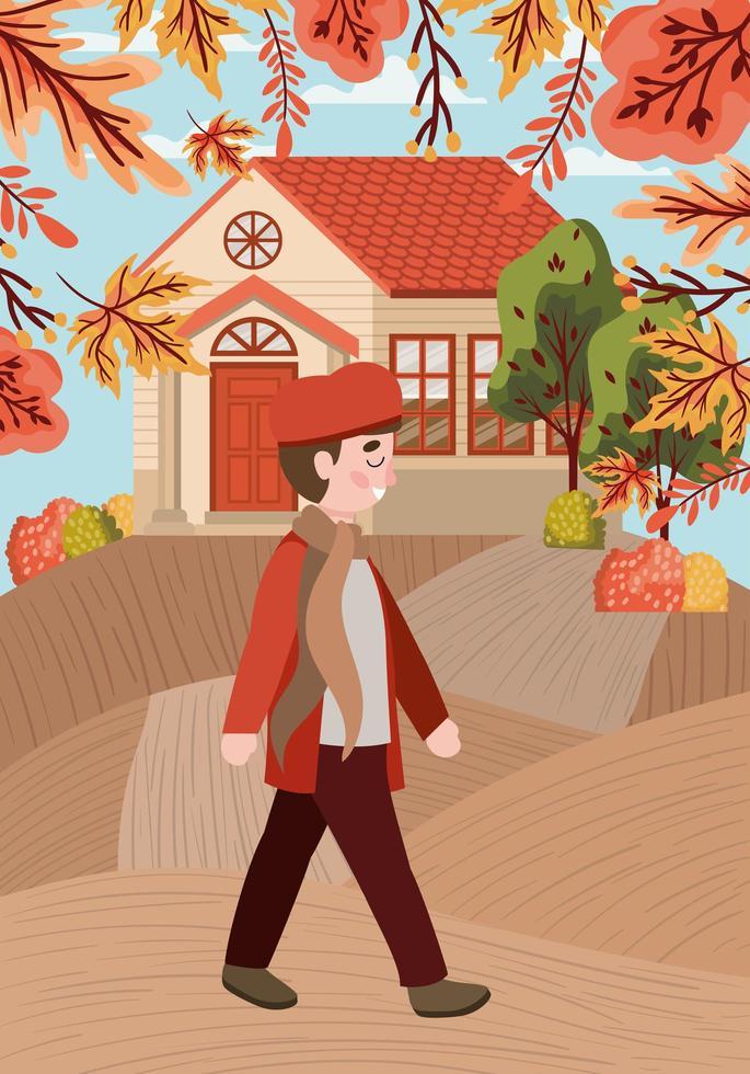 garotinho, cena de outono vetor