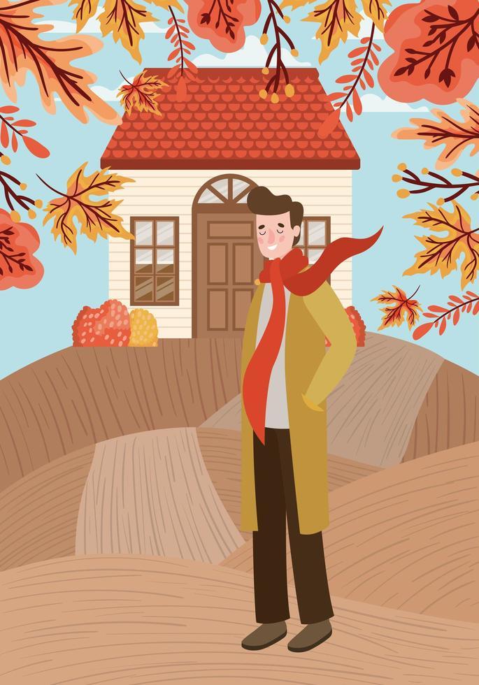 homem caminhando ao ar livre, cena de outono vetor