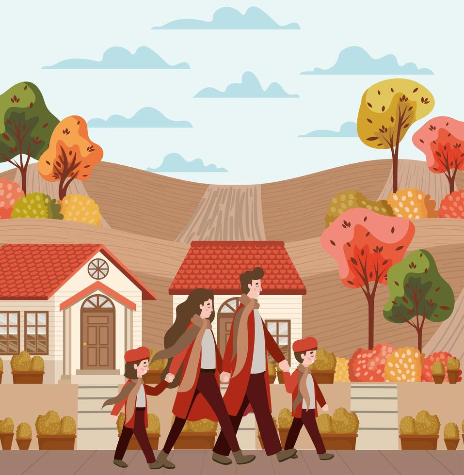 família caminhando, cena de outono vetor