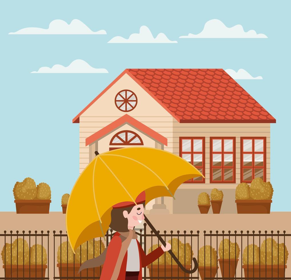 menina no parque com guarda-chuva, cena de outono vetor