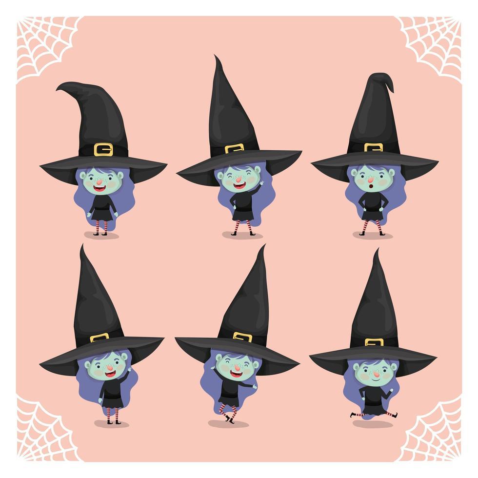 garota em uma fantasia de bruxa vetor