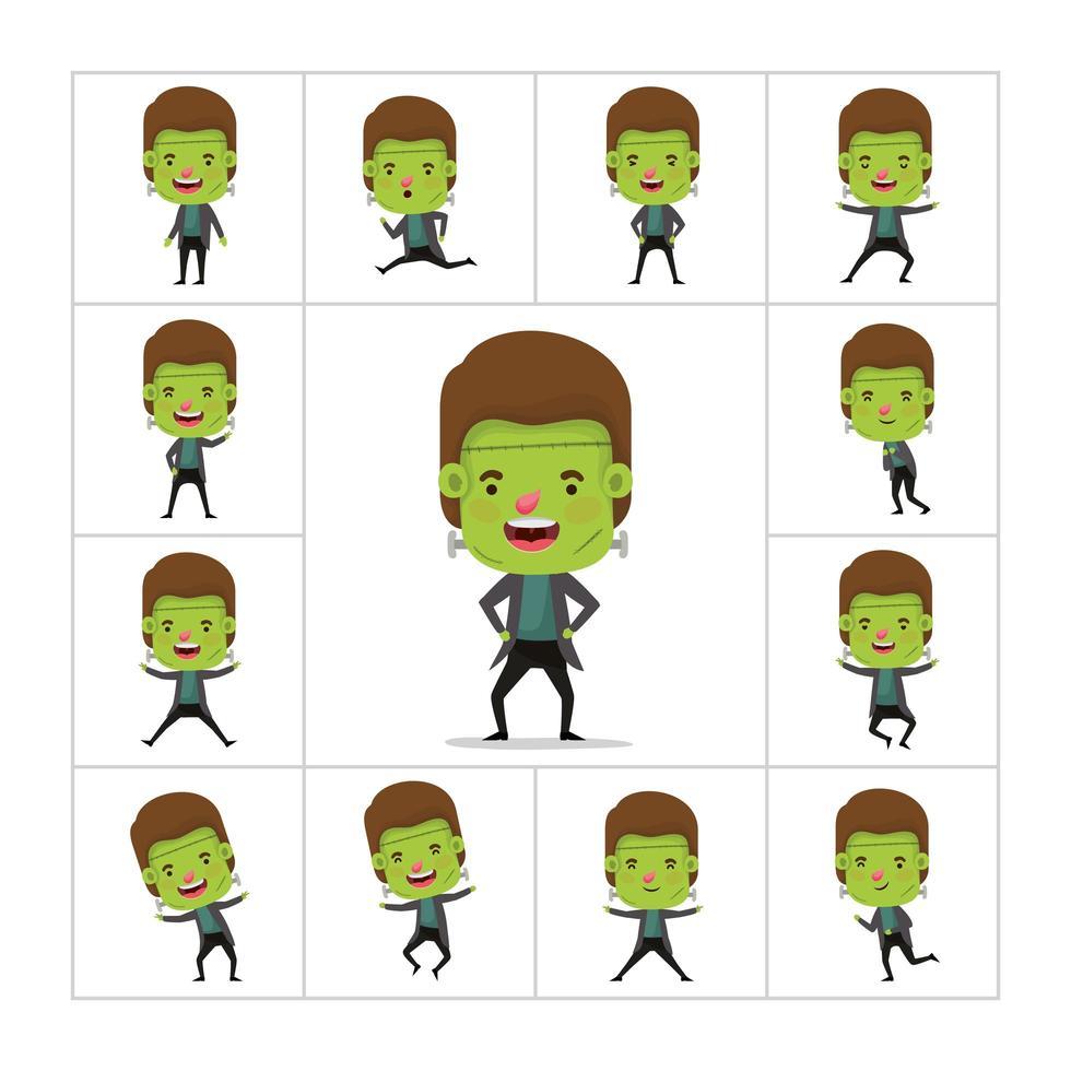 menino em uma fantasia de monstro verde vetor