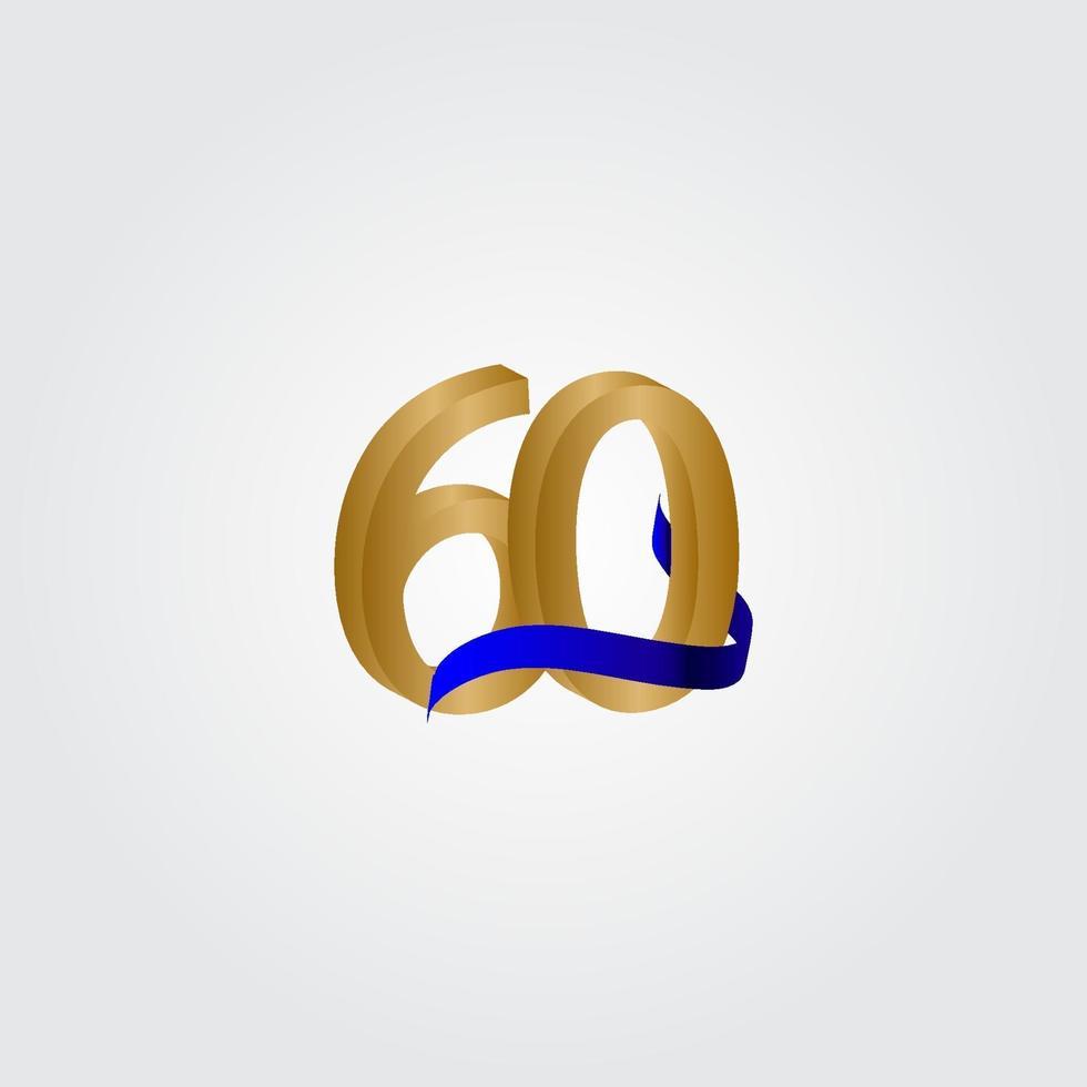 60 anos aniversário celebração número ouro vetor modelo design ilustração