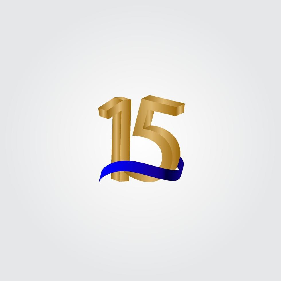 15 anos aniversário comemoração número ouro vetor modelo design ilustração