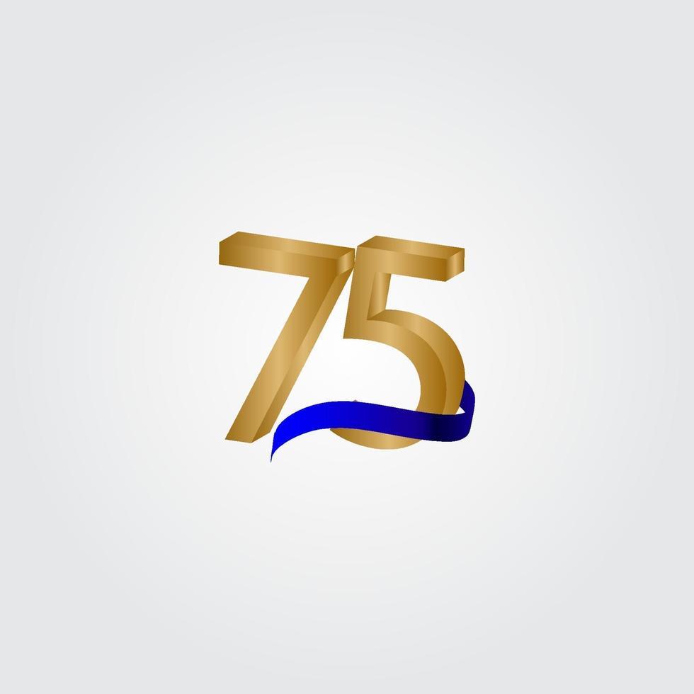 75 anos aniversário comemoração número ouro vetor modelo design ilustração
