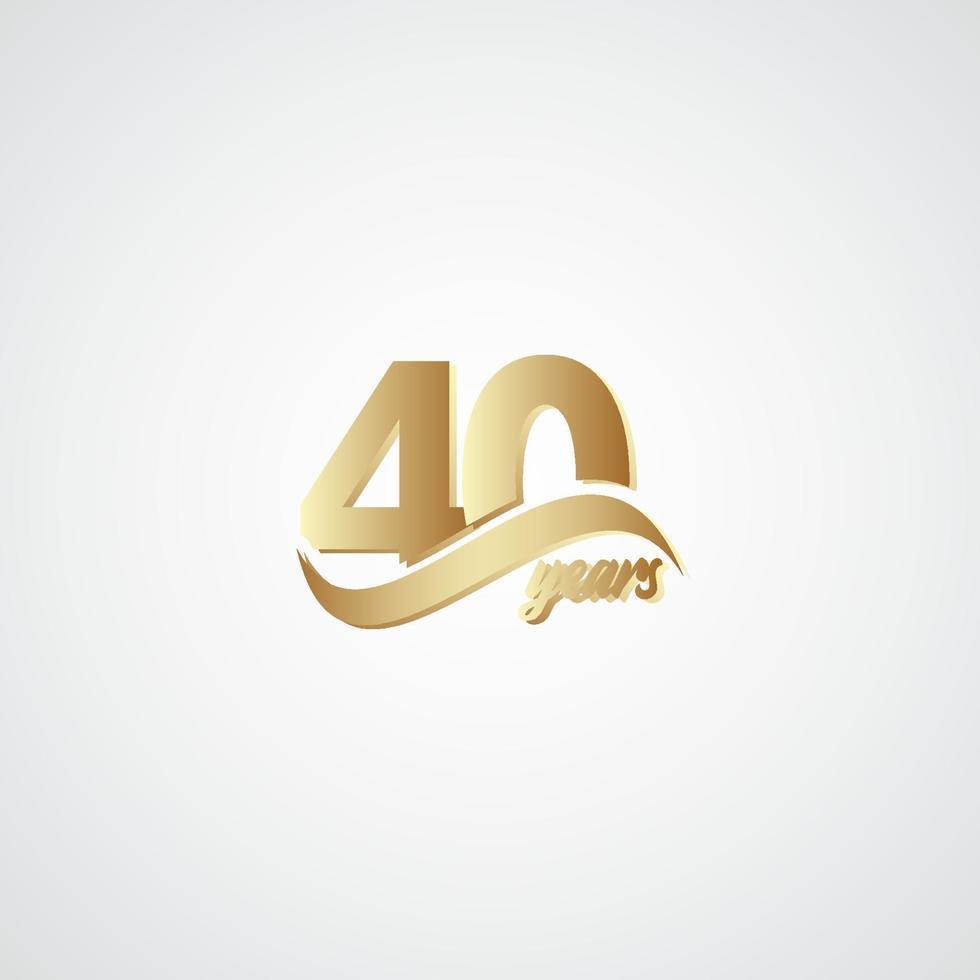 40 anos de comemoração de aniversário elegante logotipo dourado ilustração vetorial modelo vetor