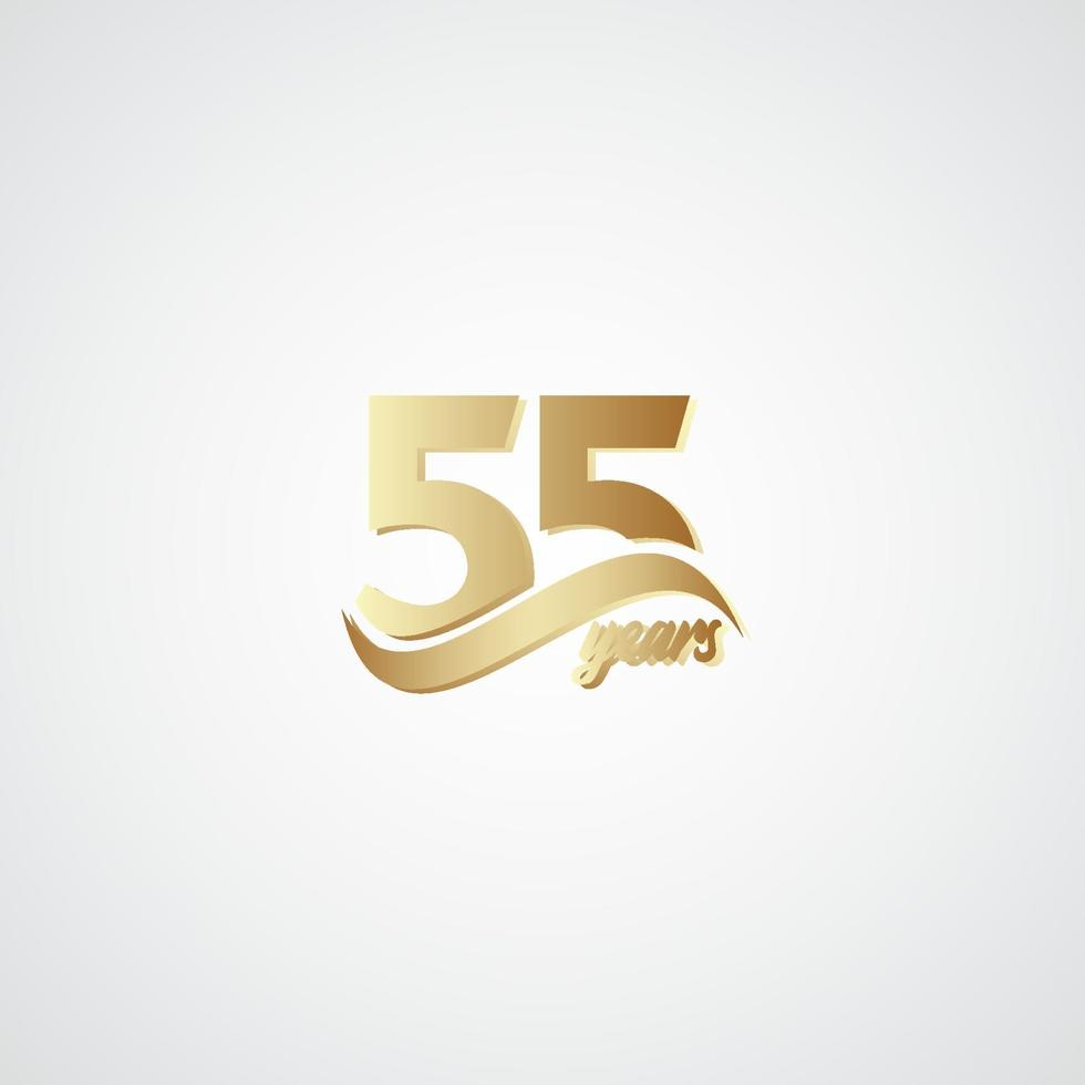 55 anos de celebração de aniversário ilustração de design de modelo de vetor de logotipo dourado elegante