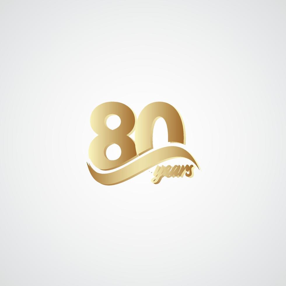 80 anos de comemoração de aniversário de ouro elegante ilustração vetorial de modelo de logotipo vetor