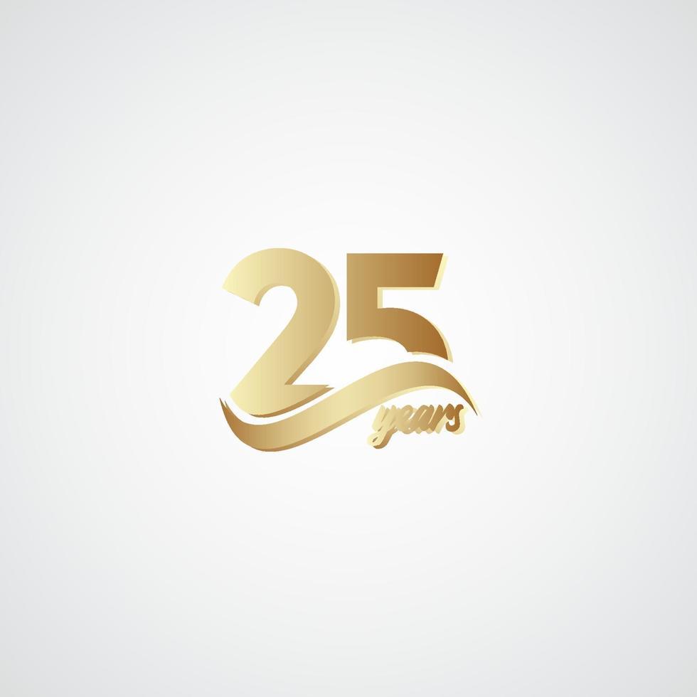 25 anos de comemoração de aniversário ilustração elegante logotipo ouro vetor modelo design
