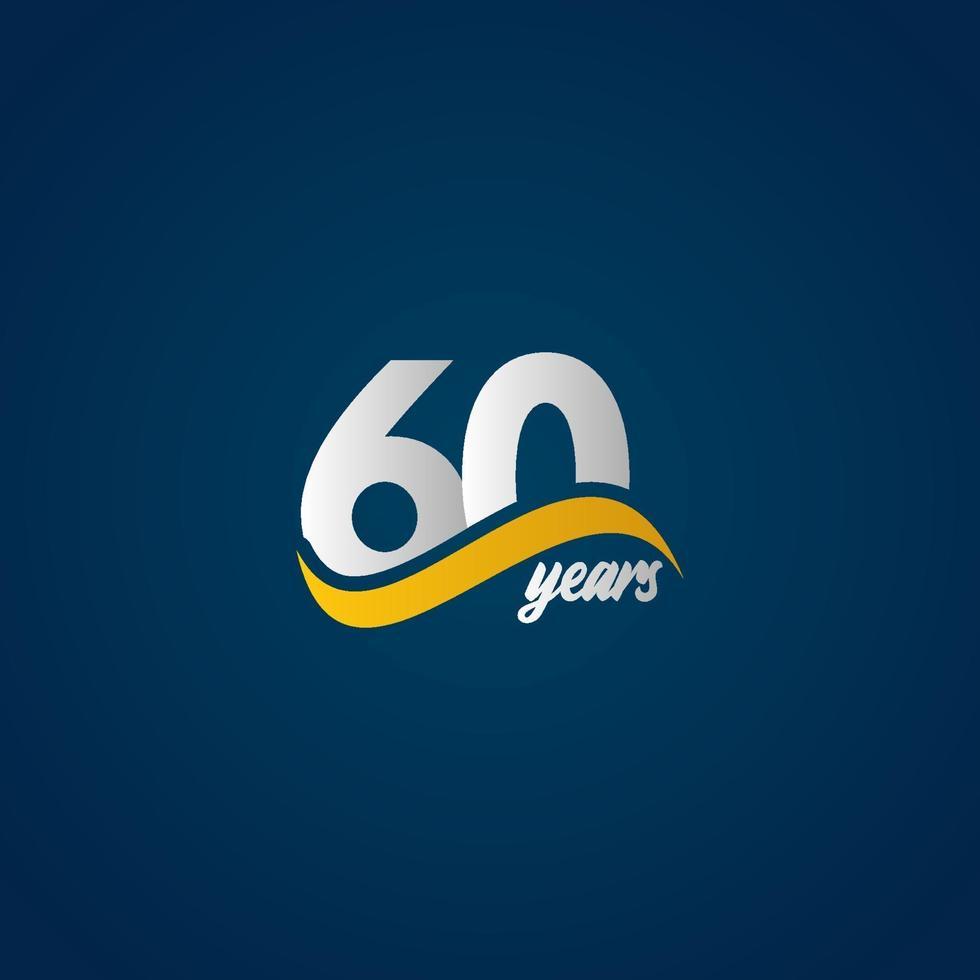 60 anos de comemoração de aniversário elegante branco amarelo azul logotipo modelo vetorial ilustração de design vetor