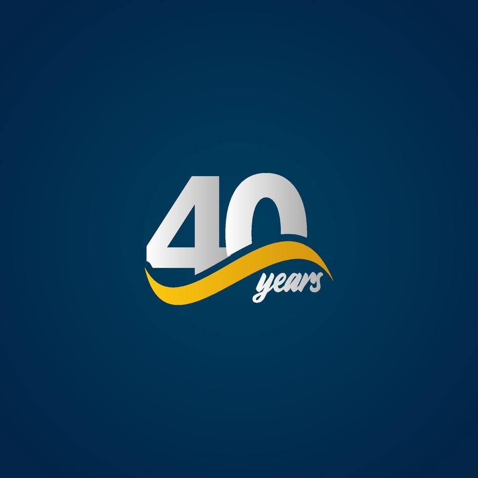 Celebração de aniversário de 40 anos elegante ilustração em vetor logotipo azul amarelo