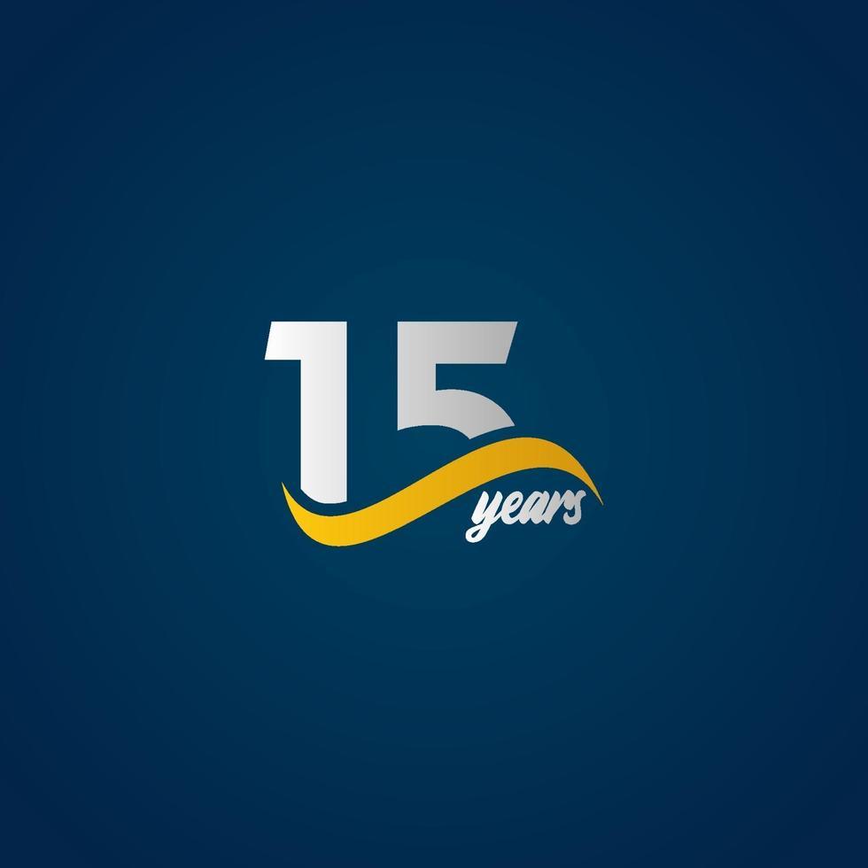 15 anos de comemoração de aniversário elegante branco amarelo azul logotipo modelo vetorial ilustração de design vetor