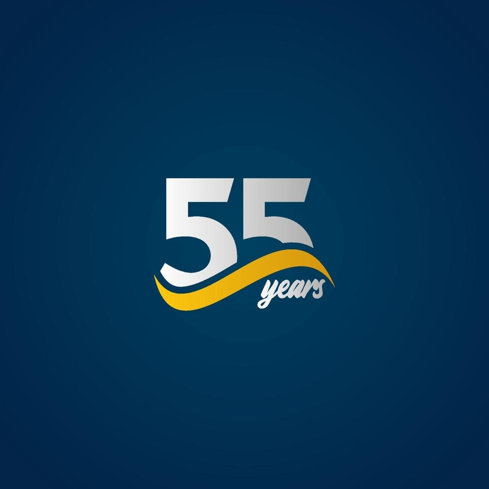 55 anos de comemoração de aniversário elegante branco amarelo azul logotipo modelo vetorial ilustração de design vetor
