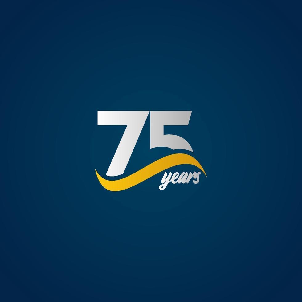 75 anos de celebração de aniversário ilustração de design de modelo de vetor de logotipo azul amarelo elegante branco