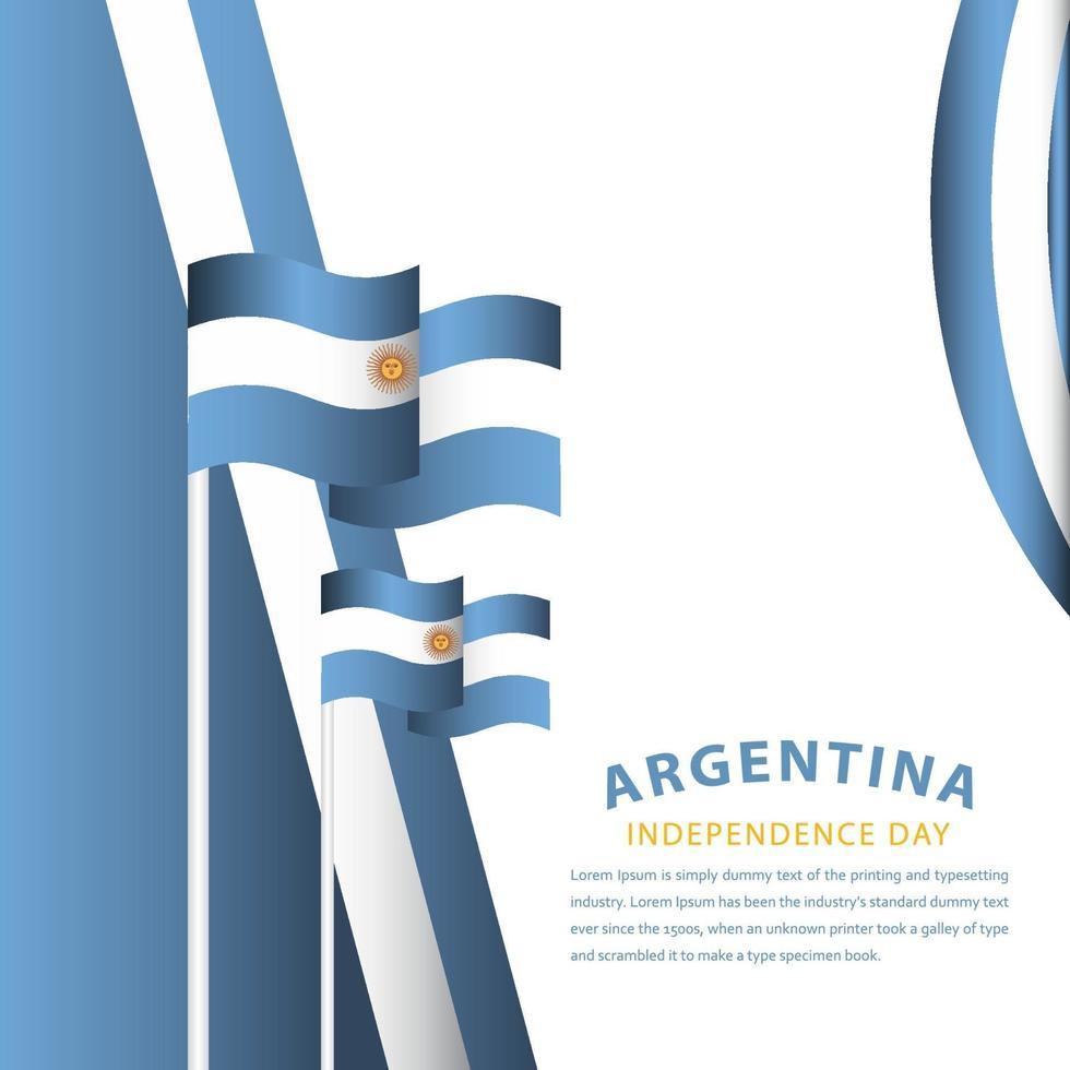 ilustração de design de modelo vetorial feliz celebração do dia da independência da Argentina vetor