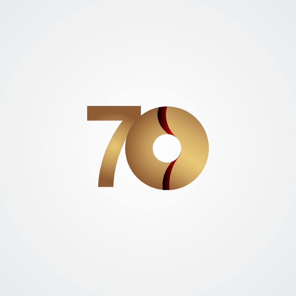 70 anos de comemoração de aniversário de ouro ilustração de design de modelo vetorial vetor