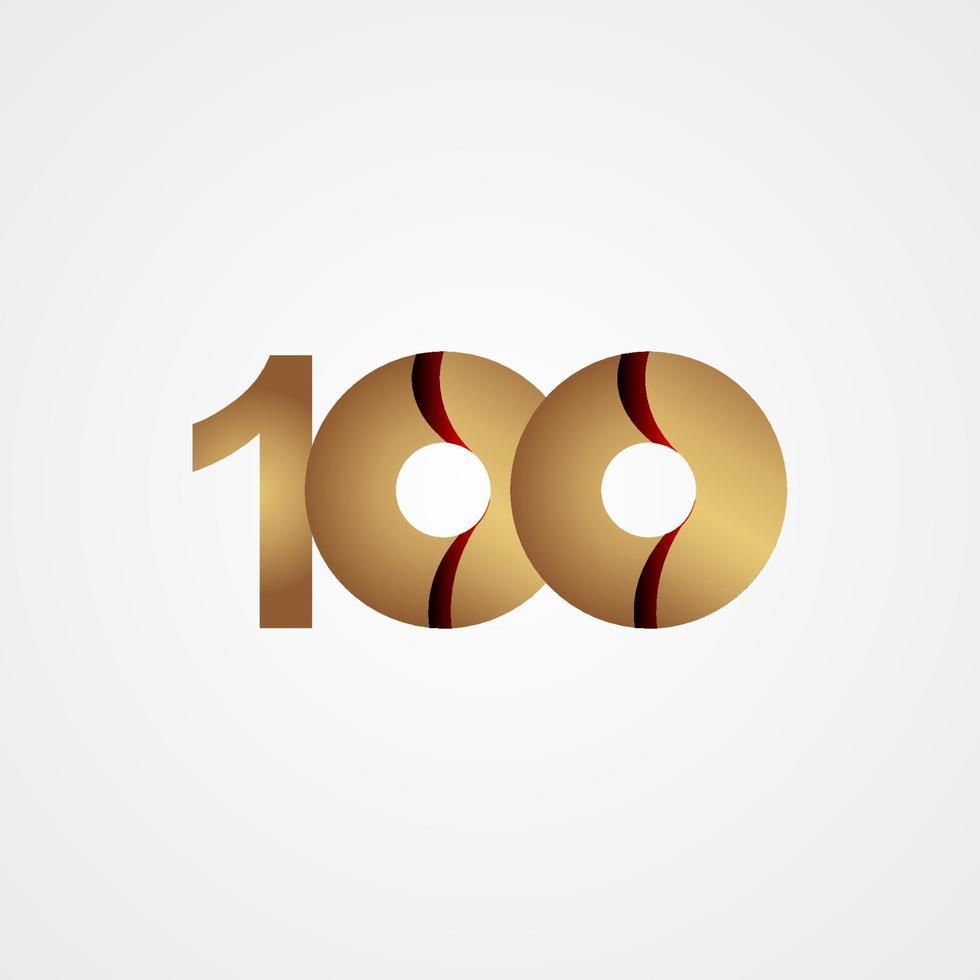 100 anos de comemoração de aniversário de ouro ilustração vetorial design vetor