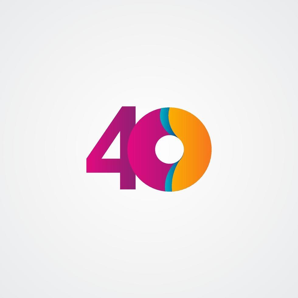 Ilustração de projeto de modelo vetorial roxo celebração de aniversário de 40 anos vetor