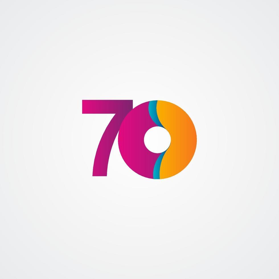 Ilustração de design de modelo vetorial roxo comemoração de aniversário de 70 anos vetor