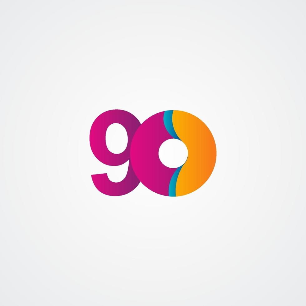 Ilustração de design de modelo vetorial roxo celebração de aniversário de 90 anos vetor