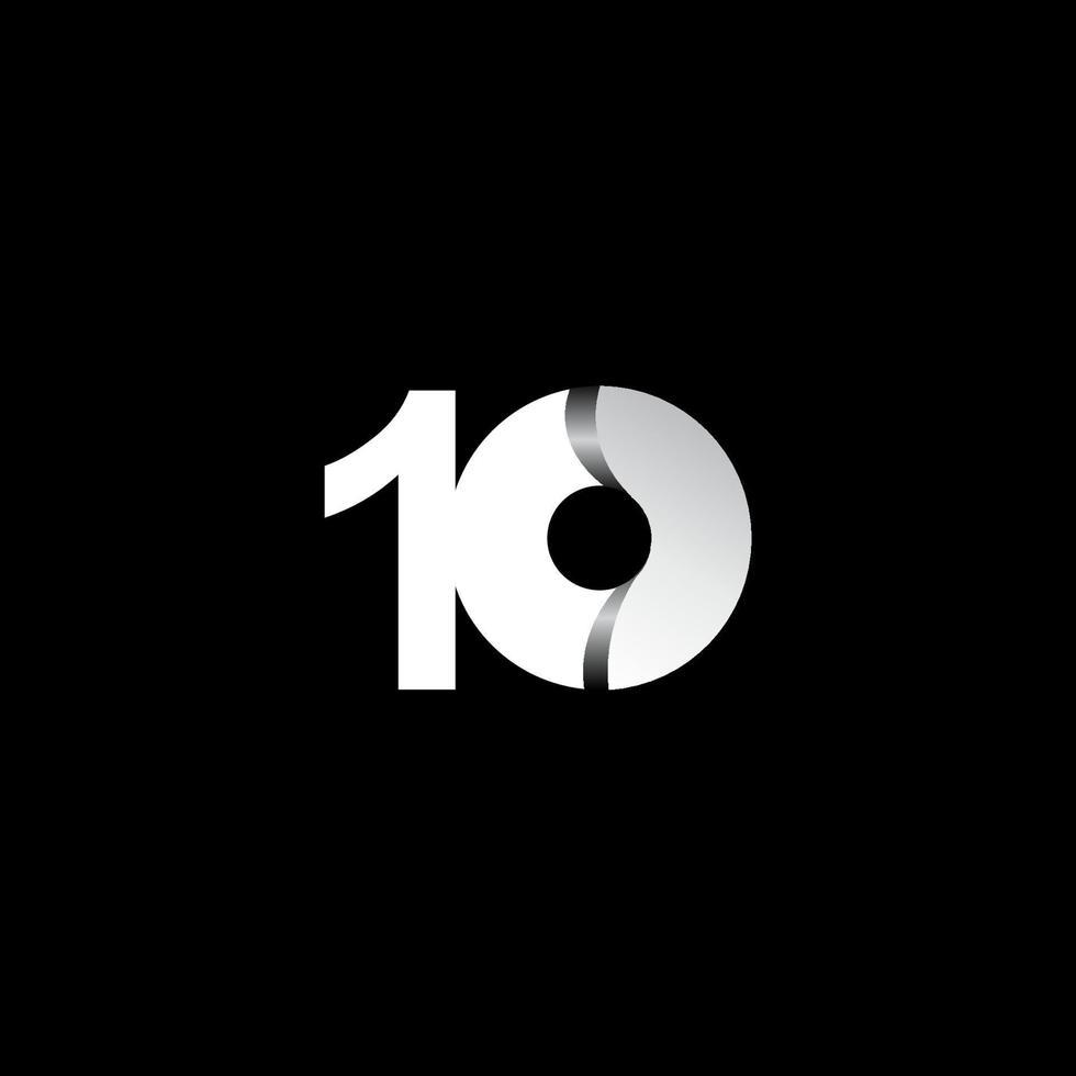 10 anos de celebração de aniversário ilustração de design de modelo de vetor de círculo branco