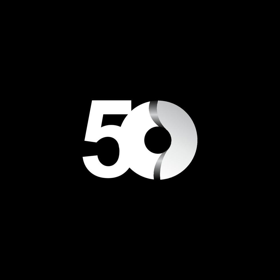 50 anos de celebração de aniversário ilustração de design de modelo vetorial de círculo branco vetor