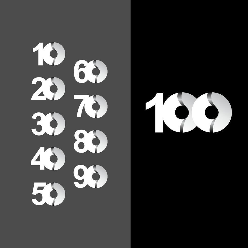 100 anos de comemoração de aniversário ilustração de design de modelo de vetor de círculo branco