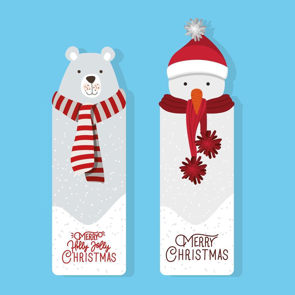 conjunto de etiquetas de feliz natal vetor