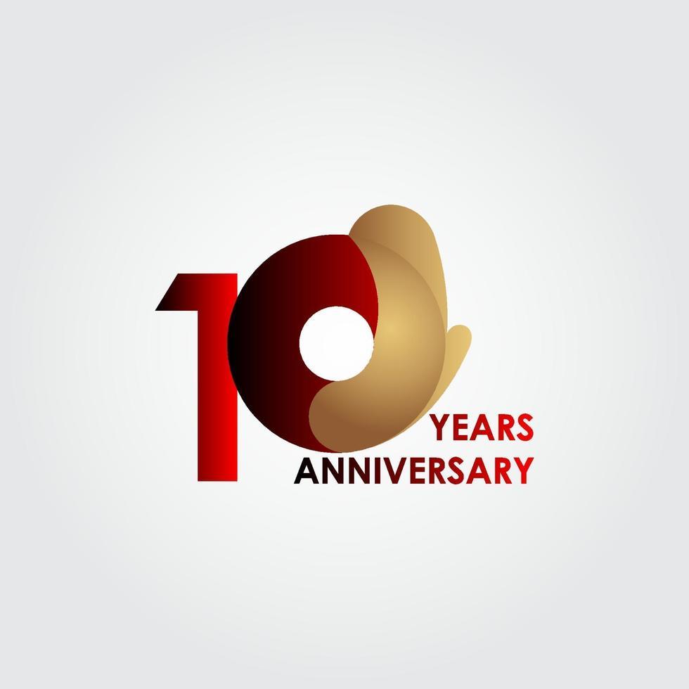 10 anos de celebração de aniversário de ouro vermelho ilustração vetorial de design vetor