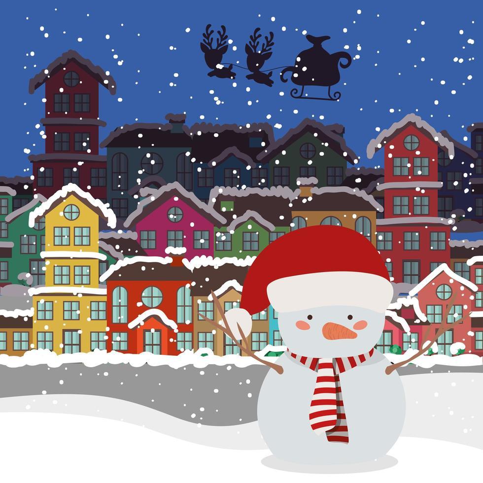 cartão de feliz natal com boneco de neve vetor