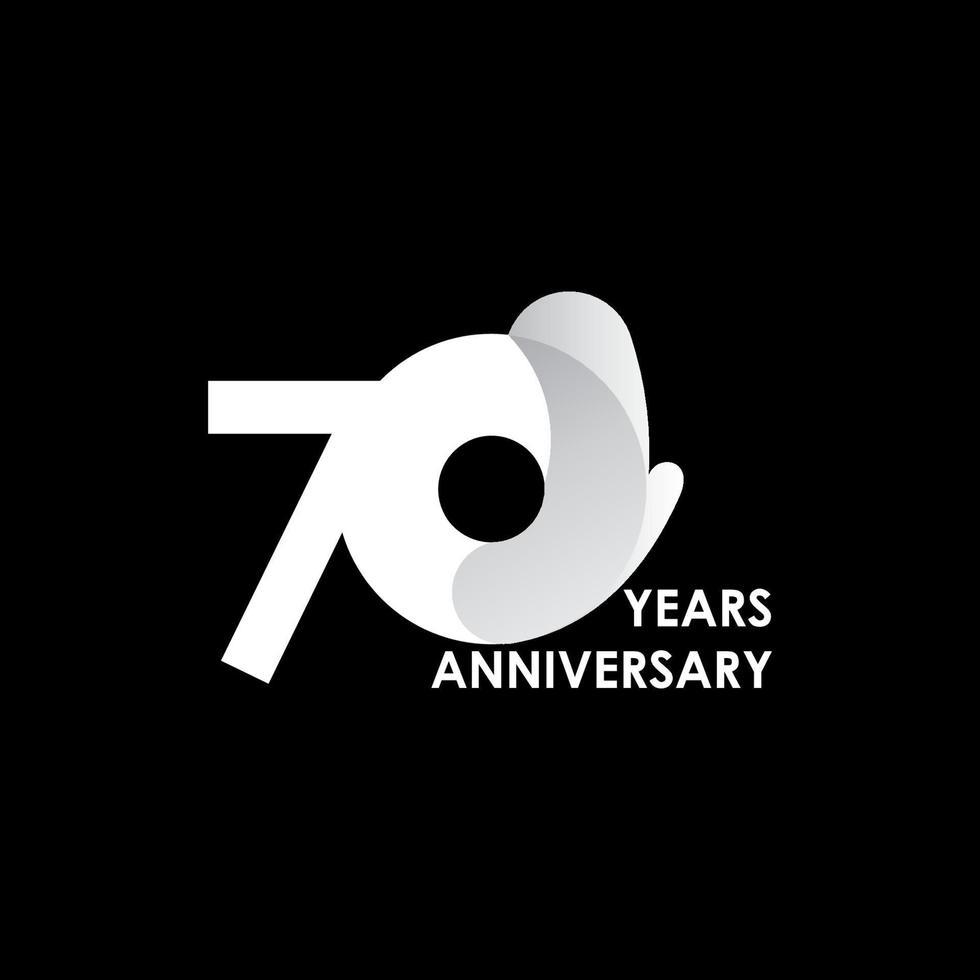 70 anos de celebração de aniversário ilustração de design de modelo de vetor de círculo branco